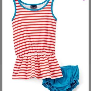 Turquoise & Red Stripe Drop-waist Dress & Bloomers